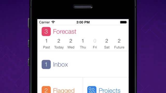 OmniFocus 2's home screen