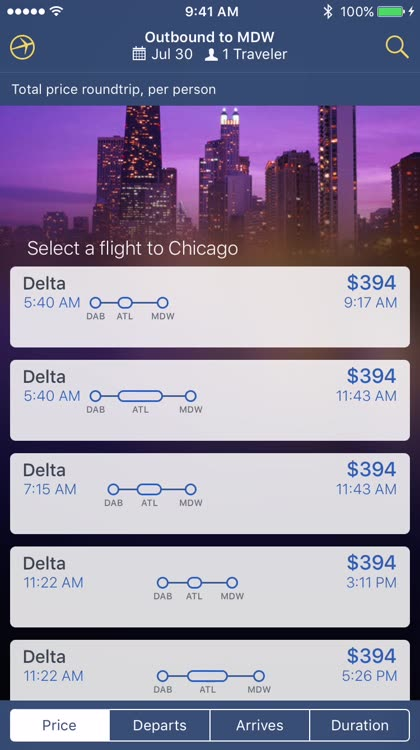 View departure and return flights