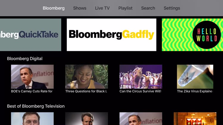 Bloomberg features, shows, and live TV