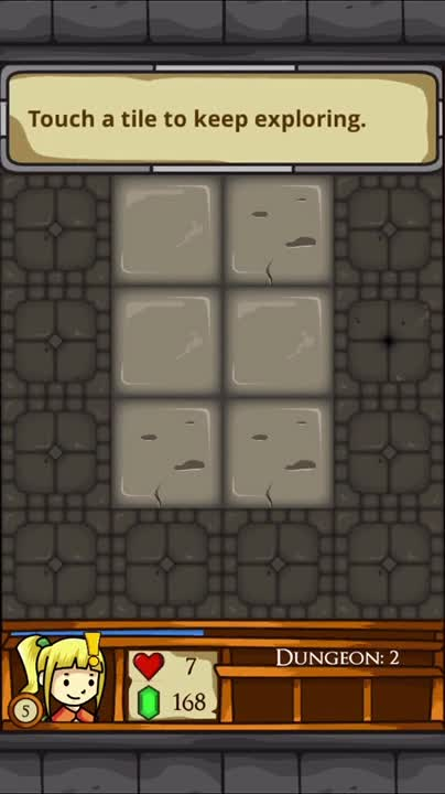 Touch a tile to keep exploring