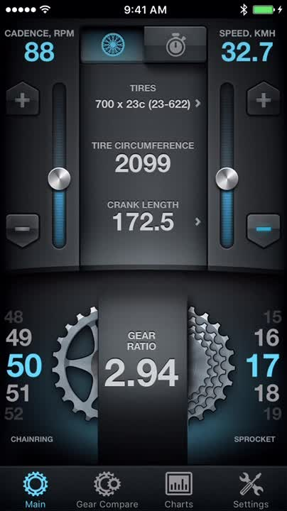 Customize the app to match your bike specs