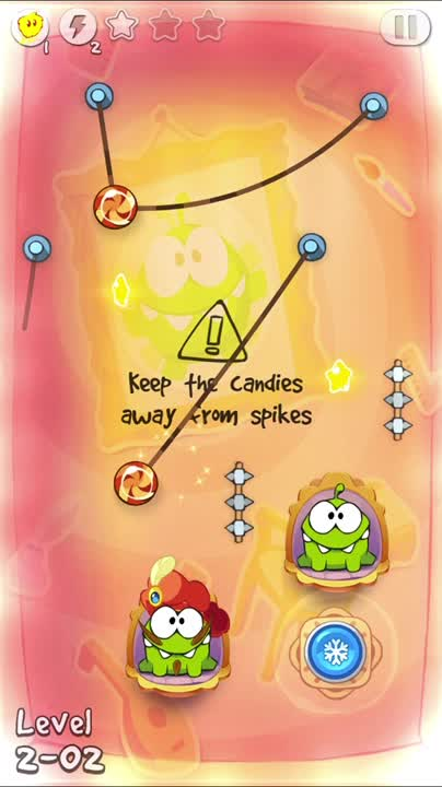 Keep the candies away from the spikes, use the button to freeze the time