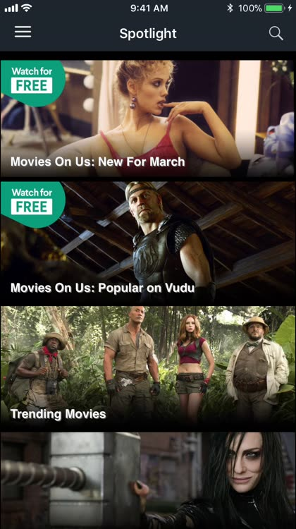 Vudu Main Screen and Rentals