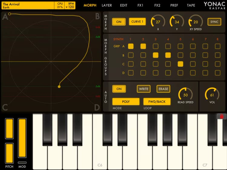 Full-featured keyboard synthesizer