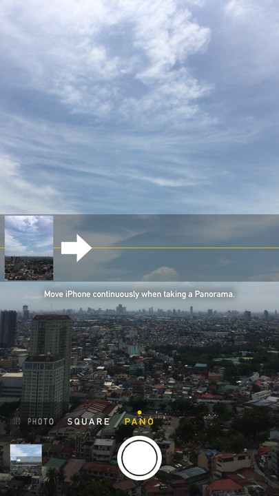 The iPhone camera's Pano mode.