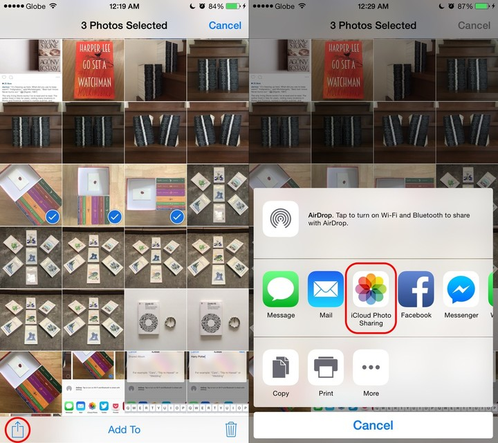 Share button then iCloud Photo Sharing