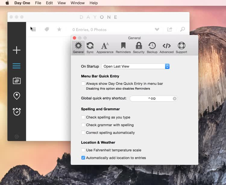 enable day one sync on mac
