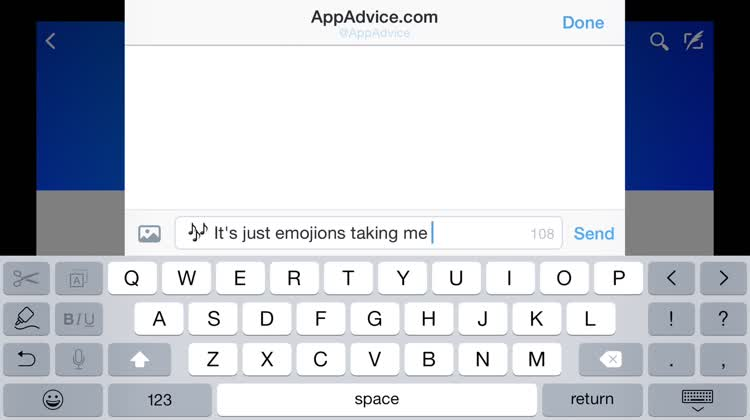 Built-in iOS emoji keyboard
