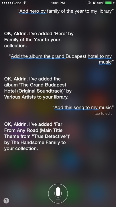 Siri Apple Music add to library