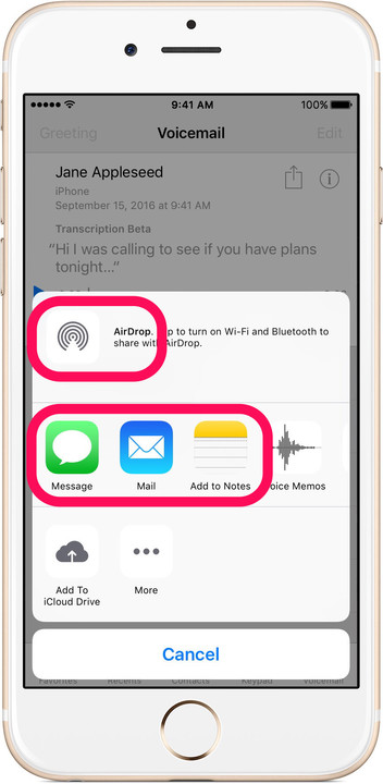 Share voicemail AirDrop Message Mail Notes