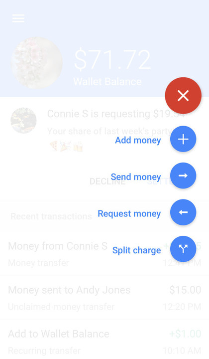 Google Wallet menu