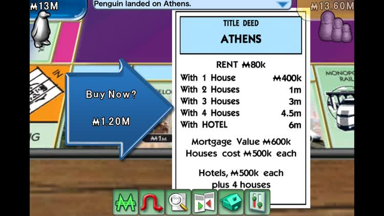 Purchase properties in Monopoly