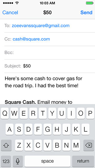 Send or request money with Square Cash via email.