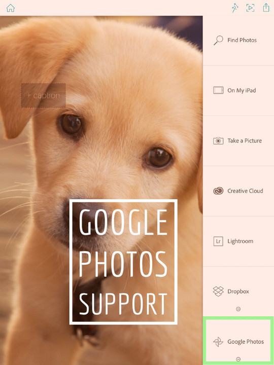 You can now add images from Google Photos to your Adobe Slate stories.