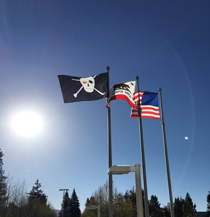 The Jolly Roger is flying over Apple's campus once again