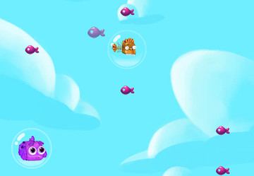 Fly out of the water and into the sky in Jelly Fish Bubble