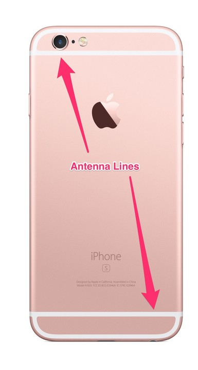 The iPhone 6s, with the antenna lines clearly marked