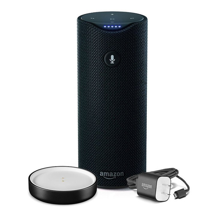 The Amazon Tap is a portable speaker with a built-in battery.