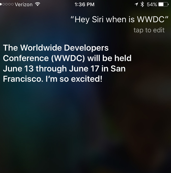 Starting today, Siri let the official WWDC dates slip.