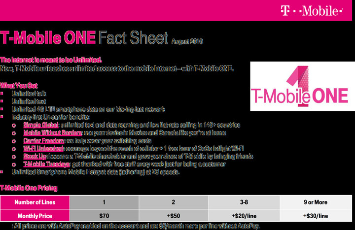 The T-Mobile One Fact Sheet, from T-Mobile.