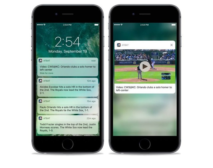 Advanced notifications for MLB.com At Bat