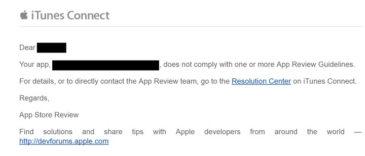 An email sent to developers.