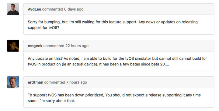 "Samuel Erdtman, Product Owner at Spotify, said, ""To support tvOS has been down prioritized."""