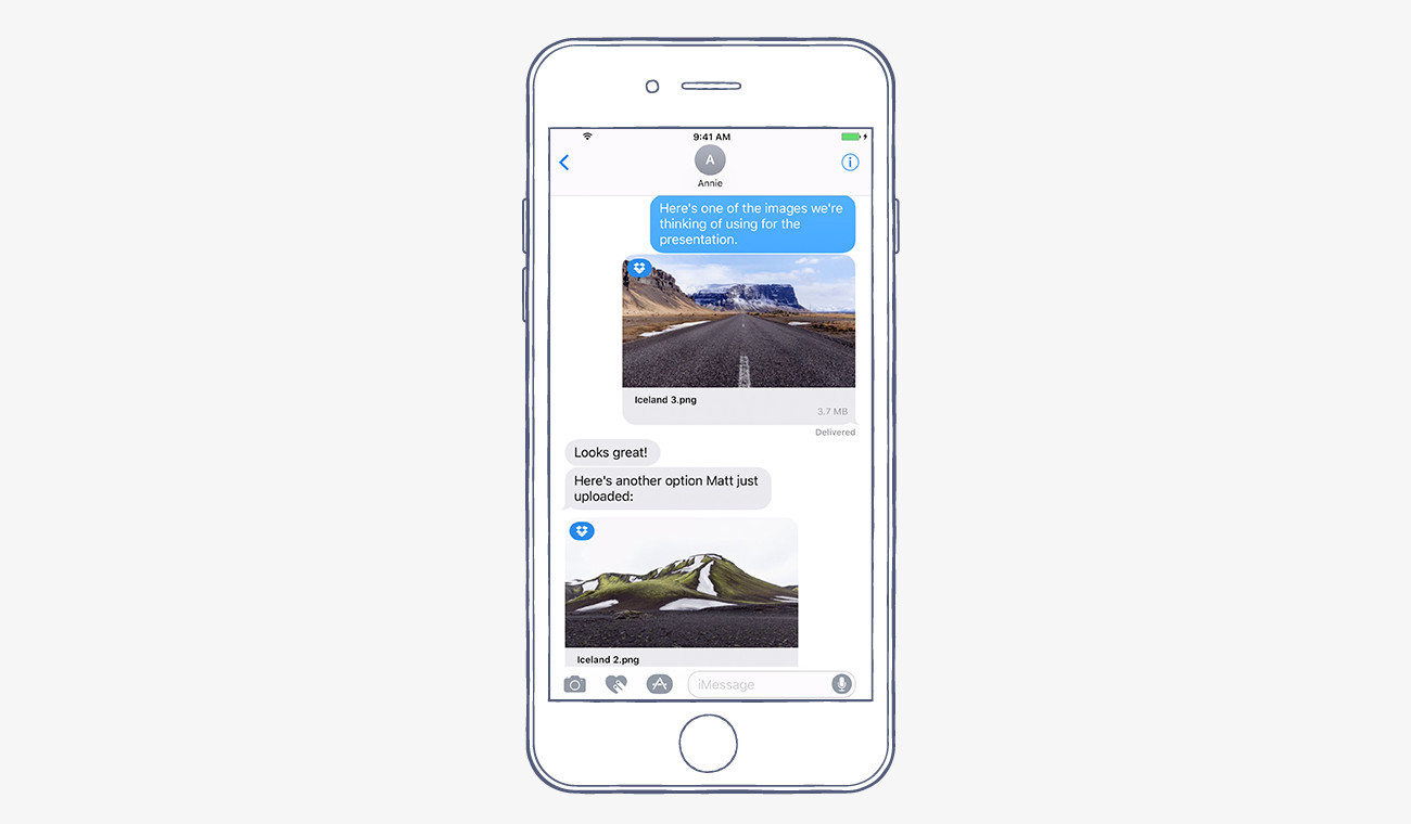 Dropbox Update iMessage