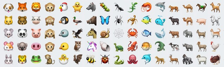 Some of the new animal emoji include a fox, duck, squid, and gorilla.