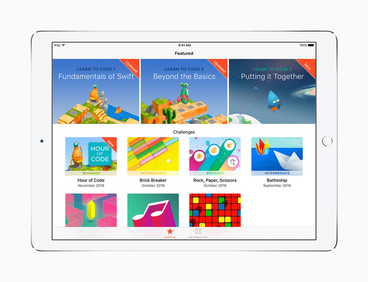 Many programs will provide an introduction to Swift Playgrounds which arrive in iOS 10 for the iPad.
