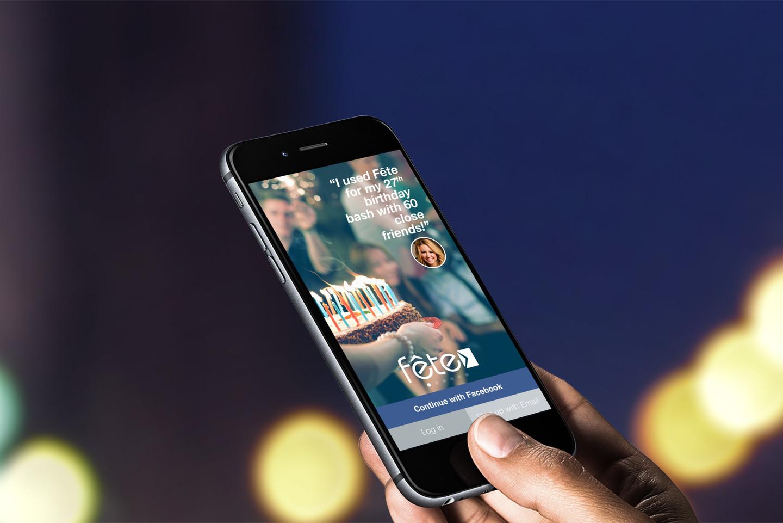 Fête app on iPhone held in hand