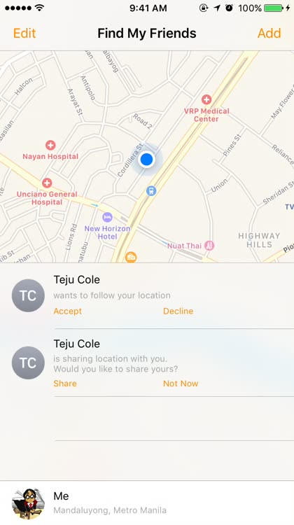 Reply to a follow request in Find My Friends
