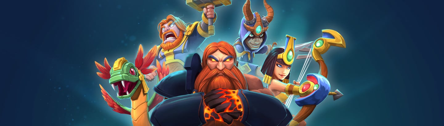 Smite Rivals main image with god-heroes on a blue background.