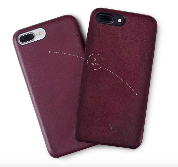After consistent use, the leather case will darken and soften.