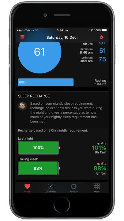 The sleep data captured by the app is also integrated with another great title from the developer - HeartWatch.
