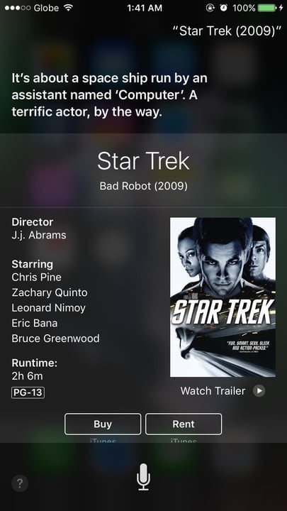 Siri movie Easter eggs Star Trek