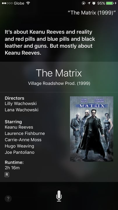Siri movie Easter eggs The Matrix