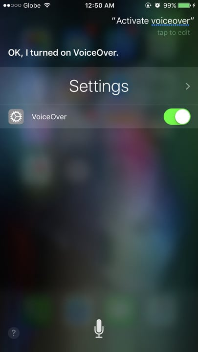 Siri change settings VoiceOver