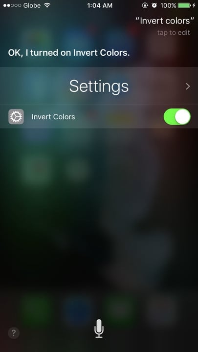 Siri change settings invert colors
