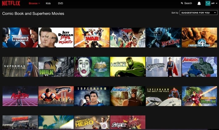 Netflix's hidden category for comic book and superhero movies is great, but not perfect.