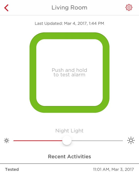 Using the Onelink Home app, users can test their alarm, change the brightness of the night light and view recent activity.