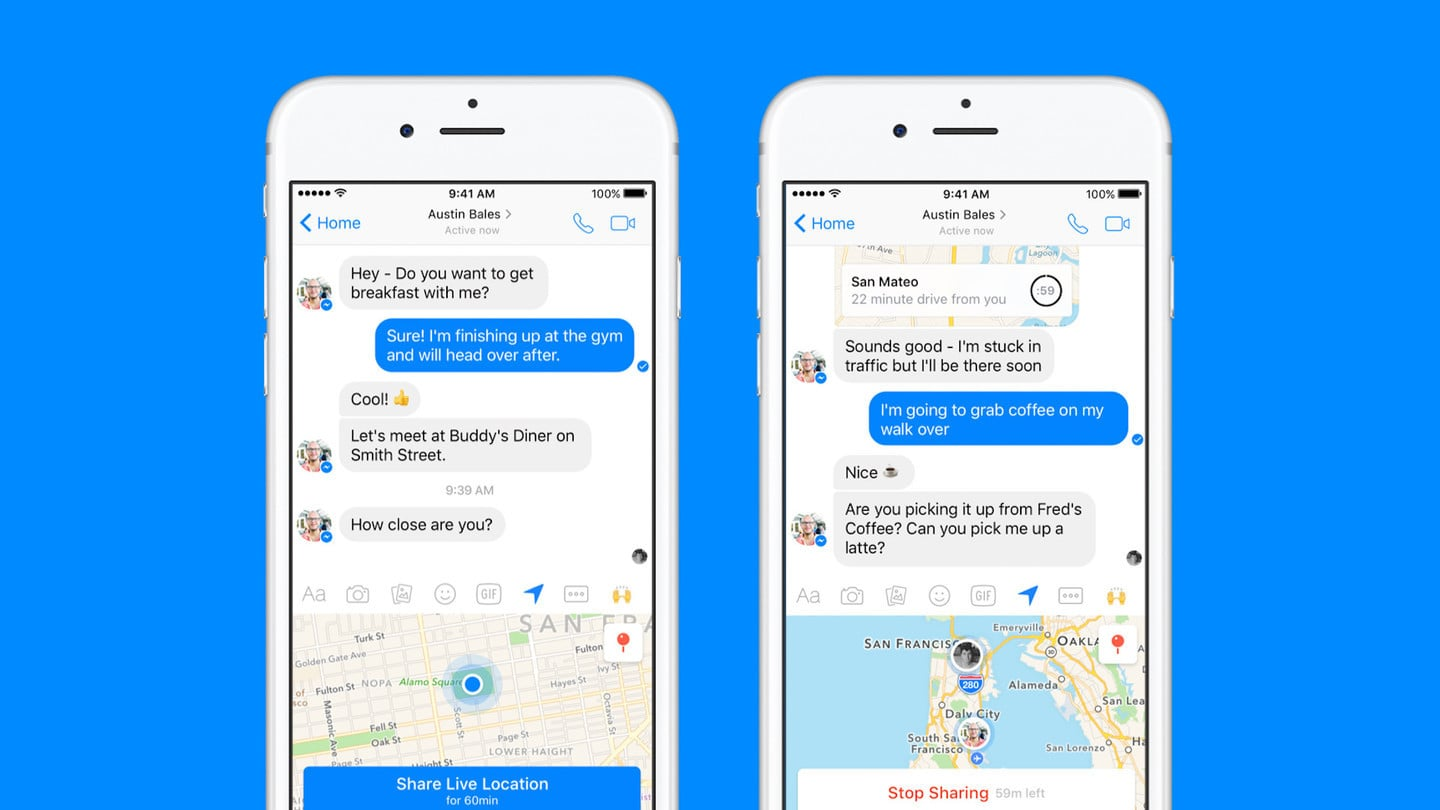 Facebook Messenger real-time location sharing