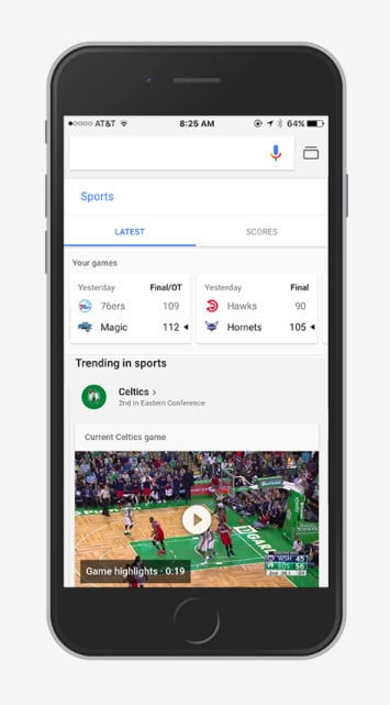 Tapping the Google search shortcut for sports shows the latest scores for your teams, trending games, and more.