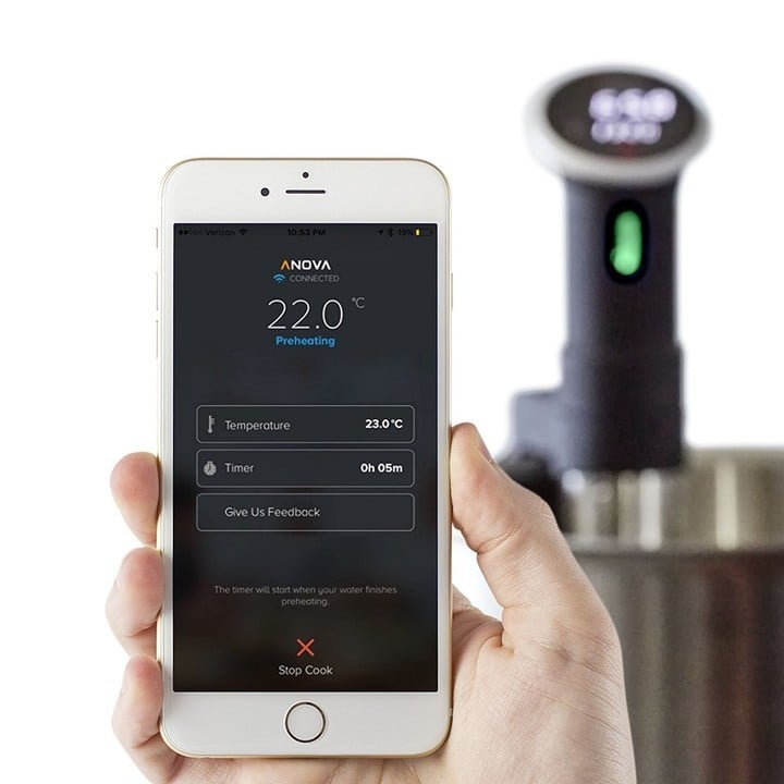 Use the iPhone app to pick your food and set up timers.