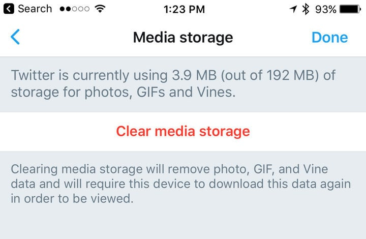 The amount of cache storage will depend on how much you use the Twitter app.