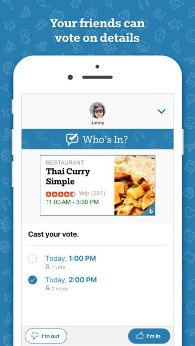 Who's In social event planning app for iMessage 5