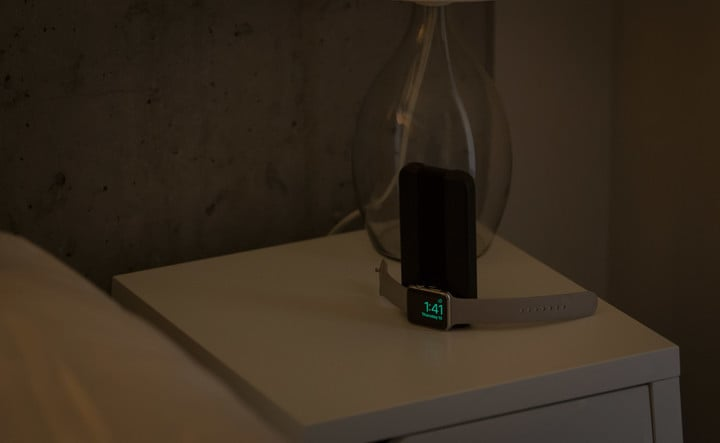 The BatteryPro can also balance on an end to place the Apple Watch in Nightstand Mode.