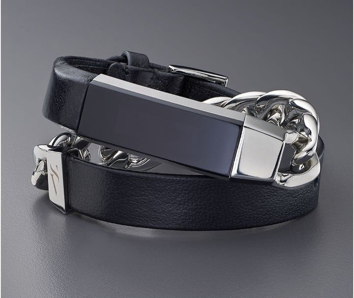 Double Wrap Leather + Metal Bracelet in Black
