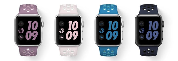 All four colors of watch bands also feature matching Nike sneakers.