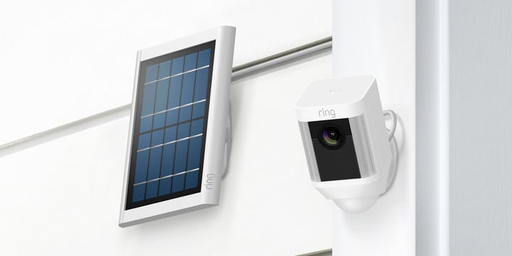 The Spotlight Cam Solar includes a solar panel to keep batteries charged.